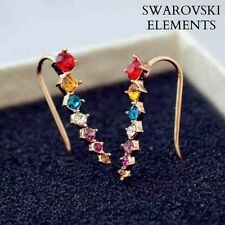boucles contour d'oreille percing swarovski Elements rouge/ bleu jaune