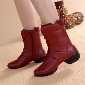 Women Boots Dance Winter Non Skid Military Boots Zipper Hip Hop Combat