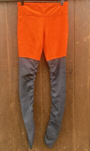 ALO YOGA Goddess Ribbed Leggings In Orange Gray Size L Athletic Ribbed Stretch