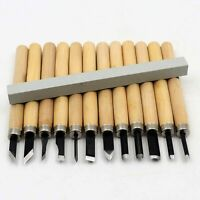12 Wood Carving Knife Chisel Kit Woodworking Whittling Cutter Chip Hand Tool Cut
