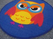 Kinder Teppich Eule blau Spielteppich Happy Owl 67 cm Rund