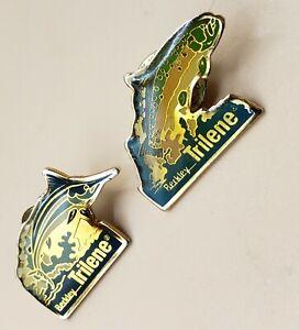 NOS vintage Berkley Trilene Fish Collection Lot of 2  Fishing Hat/Lapel Pins