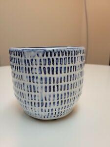 "NWT Accent Decor Blue and White Juniper Pot Bowl 5.25""x4.75"""