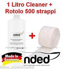 CLEANER 1 litro + rotolo 500 pad RICOSTRUZIONE UNGHIE SMALTO GEL SGRASSANTE NDED