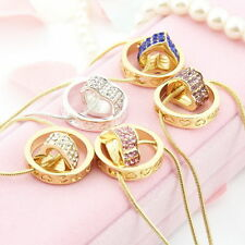 Fashion Women Lady Pendant Jewelry Crystal Love Heart Pendant and Chain Gift