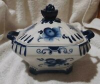 Vintage Gzhel Russian Blue & White Lidded Sugar Bowl or Bon Bon Box