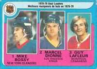 1979-80 O-Pee-Chee Mike Bossy , Marcel Dionne , Guy Lafleur #1