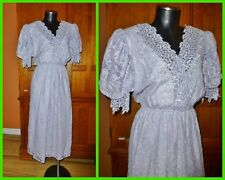 Vtg 80s Pastel Lavender Crochet Scallop LACE Puff Slv Wedding Boho Party DRESS