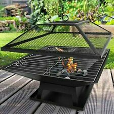 FIRE PIT BBQ GRILL HEATER OUTDOOR GARDEN SQUARE FIREPIT BRAZIER PATIO OUTSIDE DT