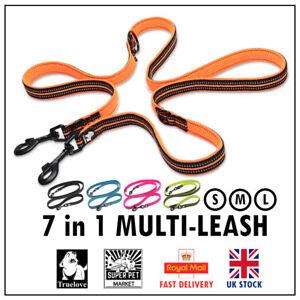 Truelove Dog Lead Leash 7 in 1 Multi-functional Waist Reflective Black Pink Blue