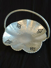 Vintage floral aluminum basket with handle