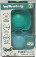 Baby Pacifiers by Herobility, 0m+, 2 Pack- Newborn, New (Choose Colors)