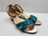 Piazza Grande BRAZIL Strappy Sandal Block Heel Womens Size US8 EUR39 Ankle Strap