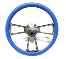 """SPECIAL BUY!! Billet and Blue Vinyl 14"""" Steering Wheel -- Chevy, Ford, Dodge"""