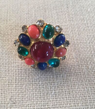 DeLILLO adjustable gold tone & multi color jewels ring~MINT~SIGNED~VINTAGE~T8