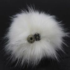5inch Large Faux Raccoon Fur Pom Pom Ball with Press Button for Knitting Hat DIY