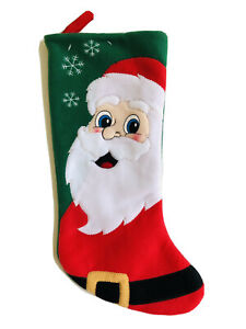 18 In Santa Snowflakes Red Green Christmas Stocking