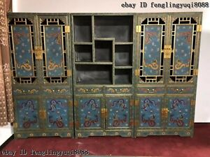 Palace Copper Cloisonne Enamel Dragon Bookcase bookshelf Du Baoge Furniture