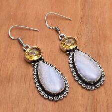 "Dangle Earrings Jewelry 2.04"" Ae 79416 Blue Lace Agate Citrine Handmade Drop"