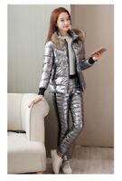 Women Winter Tracksuit Cotton Coat And Pants Suit Set Warm Hooded Jacket Outwear