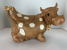Vintage Twin Winton Spotted Jersey Brown Cow Ceramic Cookie Jar MARKED