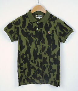 A BATHING APE Men's MEDIUM Short Sleeve Thick Camouflage Polo T-Shirt 39714-ES