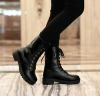 Women's Black Military Combat Lace Up Rivet Punk Motorcycle Ankle Boots New G215