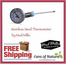 Stainless Steel Cooking Thermometer - 22cm, Great for Yoghurt & Cheese Making