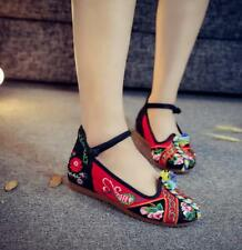 Womens Canvas Embroidery Floral Mid Hidden Heel Pumps Casual Shoes Retro Oxfords