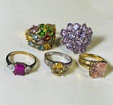 LOT OF 5 Sterling Silver 925 Semi Precious Stone Rings