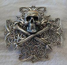 SKULL & CROSSBONES Silver pltd BROOCH Renaissance goth Steampunk Pirate Hat Pin
