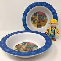 2 Vintage Bob The Builder Melamine Food Cereal Bowls With Articulated Bob Figure