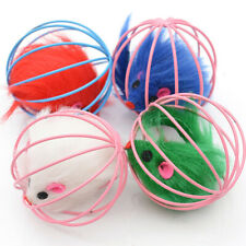 CO_ ITS- 4Pcs Plush Mouse in Rat Cage Ball Pet Cat Kitten Interactive Puzzle Toy