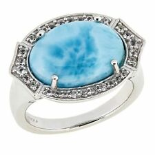 Paul Deasy Gem Larimar and White Topaz East/West Ring Size 6