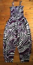 Señoras Catsuit con Tiras Blanco/Negro/Púrpura Tigre Patrón, Tamaño 6-10 * Nuevo *