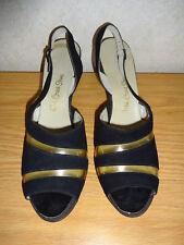 dc207aaabe5 Vintage Shoes 1950s 1960s Black Red Cross 9 AA Peep Toes Slingbacks Heels  Pumps
