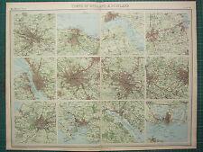 1921 LARGE MAP ENGLAND SCOTLAND ENVIRONS CITY PLAN MANCHESTER BRISTOL LIVERPOOL