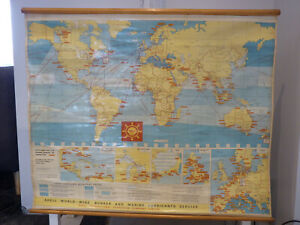 Vtg George Philips & Sons Large Wall Map World ( SHELL BUNKERING MAP) 1966 -