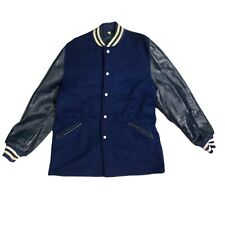 Vtg 50s Butwin Leather Varsity Sz 42 Mens Blue Jacket For Champions Letterman