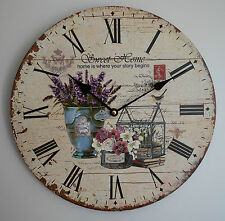 Wanduhr wall clock Vintage Sweet Home Lavendel lavender Shabby Royal Ø33cm