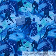 BonEful FABRIC FQ Cotton Quilt Blue Tone Tonal Ice Hockey NHL Sport Boy School L