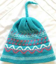 Vintage Eddie Bauer Ski Hat Skull Beanie 100% Wool Two-Ply Knit Tassle Blue
