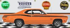 1973 PLYMOUTH 340 DUSTER HEMI ORANGE CAR GARAGE SCENE BANNER SIGN ART MURAL 2X5