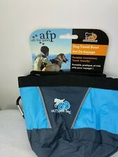 New AFP Outdoor Dog Travel Collapsible Fold Flat Water Bowl Blue/Black