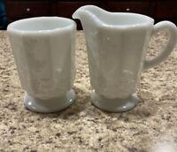 Westmoreland White Milk Glass Paneled Grape Creamer & Sugar Bowl Set
