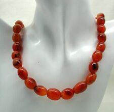 Vintage String Of Large Carnelain Agate Beads Necklace