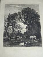 Camille BERNIER (1823-1902) GRAVURE EAU FORTE BANNALEC FINISTERE BRETAGNE 1876