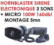 PUISSANCE INCROYABLE 160db! SIRENE ELECTRONIQUE HORNBLASTER MONTAGE 5MN! RARE !