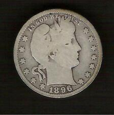 1896-P__Liberty Head Barber Quarter__Nice Good Coin