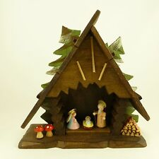 "Vintage Miniature Wood Nativity Creche Scene Made in Italy 6"" Tall"